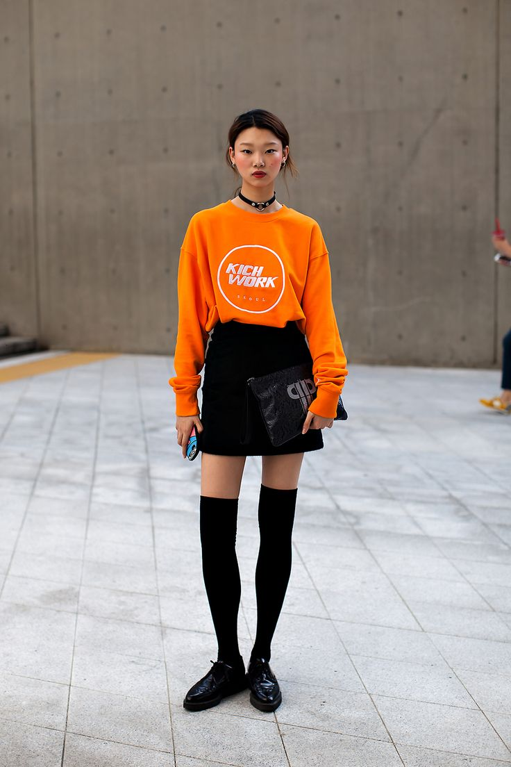 Preppy and Edgy | oxfords | mini skirt & oversized sweater | Color combo: Black & Orange