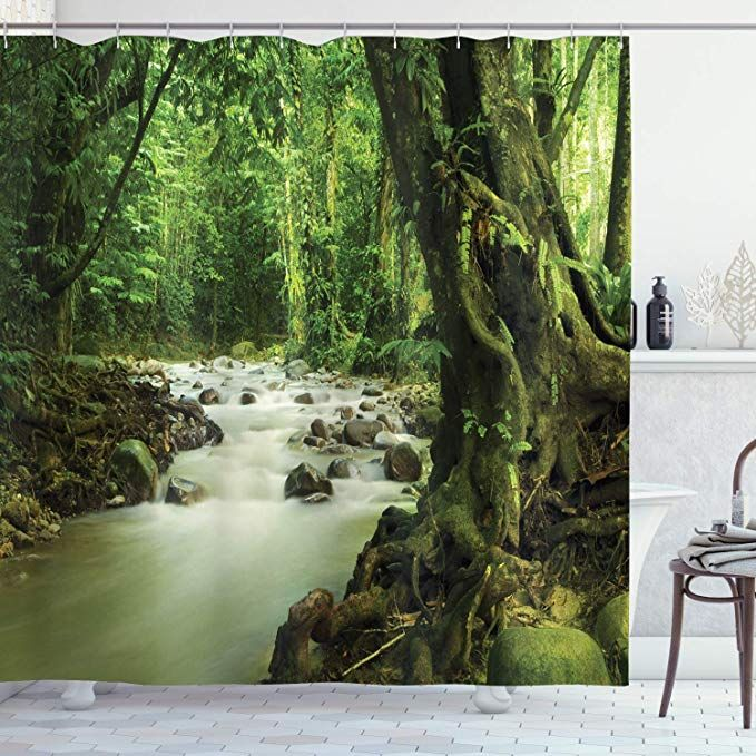 Ambesonne Rainforest Shower Curtain Tropical Rainforest And Rocky River In Selangor State Malaysia Wildli In 2020 Rainforest Shower Cheap Curtains Bathroom Decor Sets