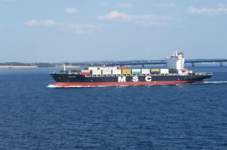 MSC MANU - Container vessel of Mediterranean Shipping Company in Baltic sea on her way to west Europe