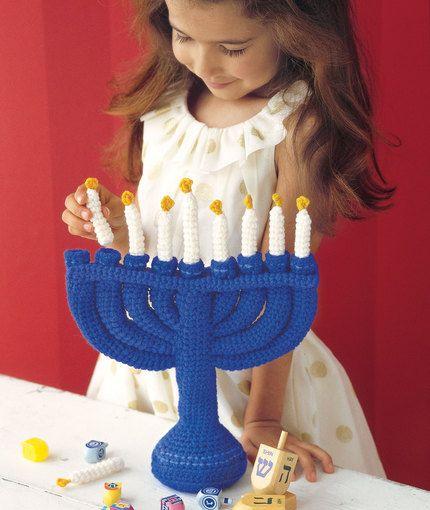 Child's Menorah Free Crochet Pattern from Red Heart Yarns
