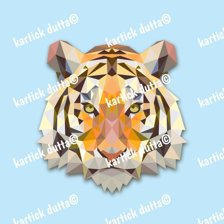 Tiger face vector illustration by DuttaartShop on Etsy