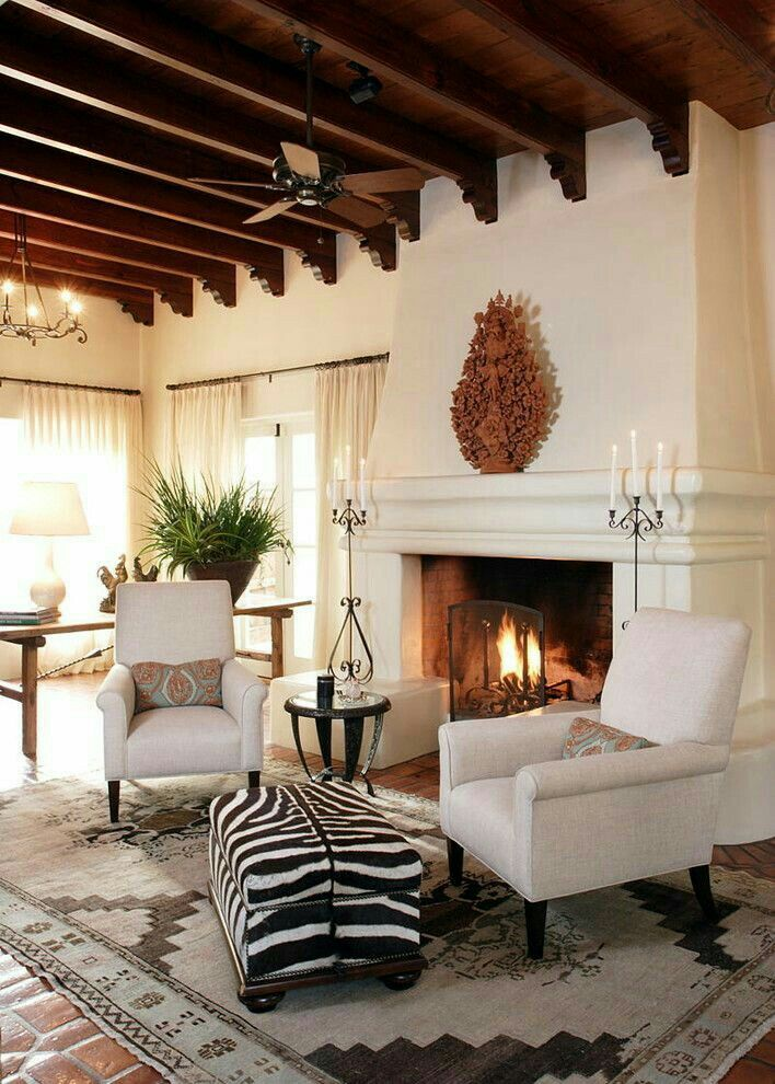 Love the zebra print in this Spanish style home!