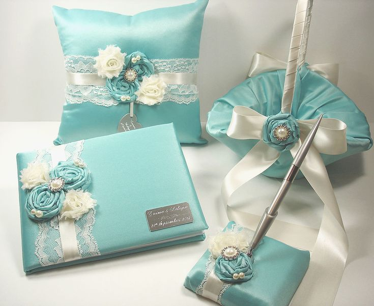 Personalized Guest Book/Pen/Ring bearer pillow/Flower girl basket Tiffany Blue Wedding