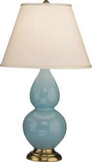 """Robert Abbey 22 3/4"""" Egg Blue Ceramic and Brass Table Lamp - two for the sofa / console table."""