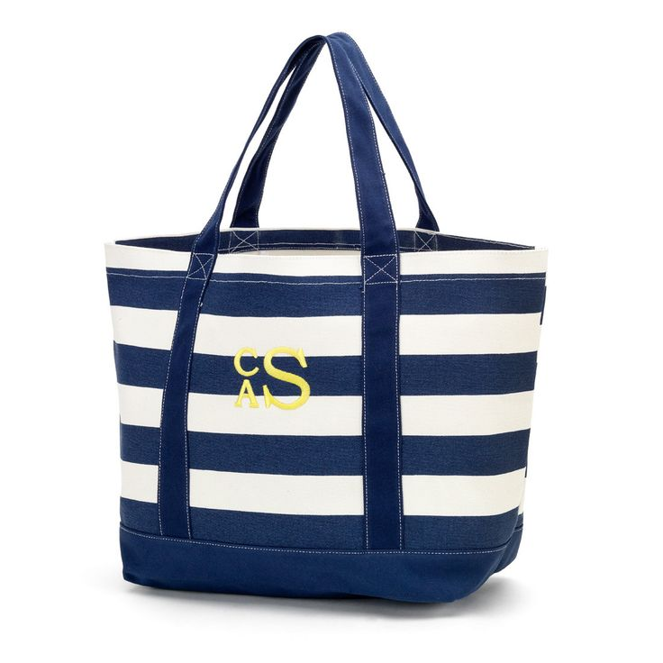 Canvas Tote in Navy Blue Stripes by jansnstitches on Etsy