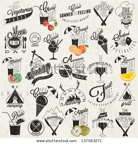 Retro vintage style restaurant menu designs. Set of Calligraphic titles and symbols. Fast Food.  Hand lettering style. Orange, Melon, Apple ...