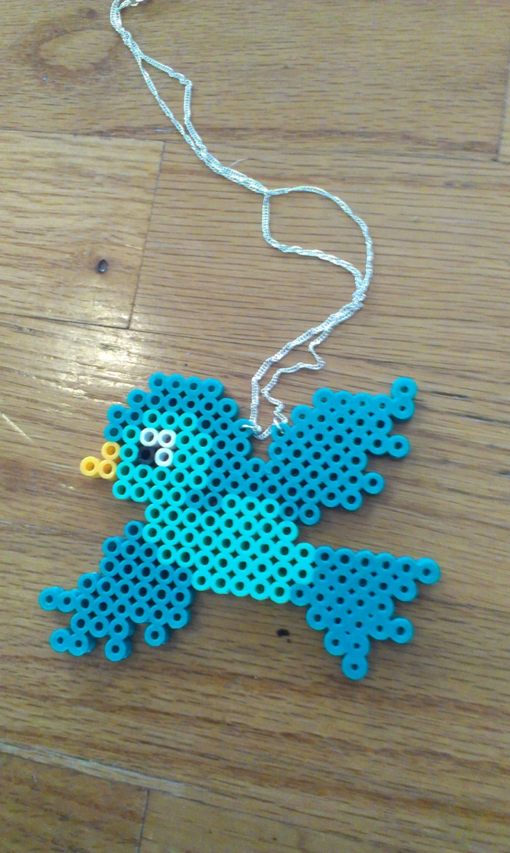Perler Bead Bird Necklace by RewrittenTime on Etsy