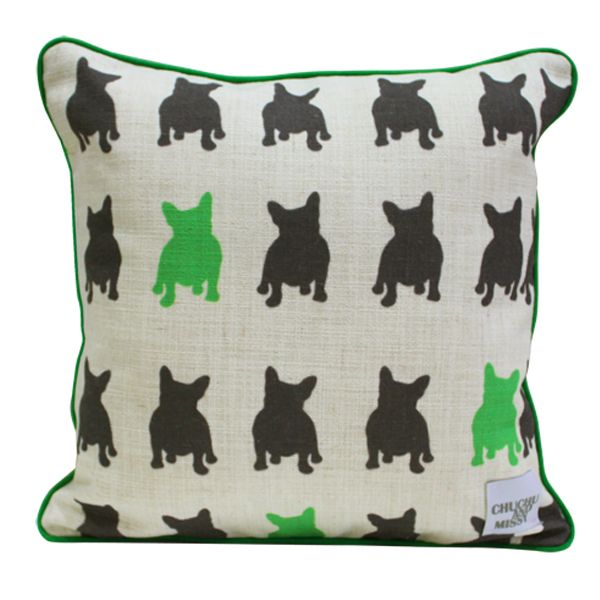Green and Charcoal Cushion Frenchie and Friends (http://www.ellaandsofia.com/green-and-charcoal-cushion-frenchie-and-friends/) #ChuChuandMissy #KidsInteriors #KidsRooms #KidsDecor #MadeInAustralia #ProudlyMadeInOz