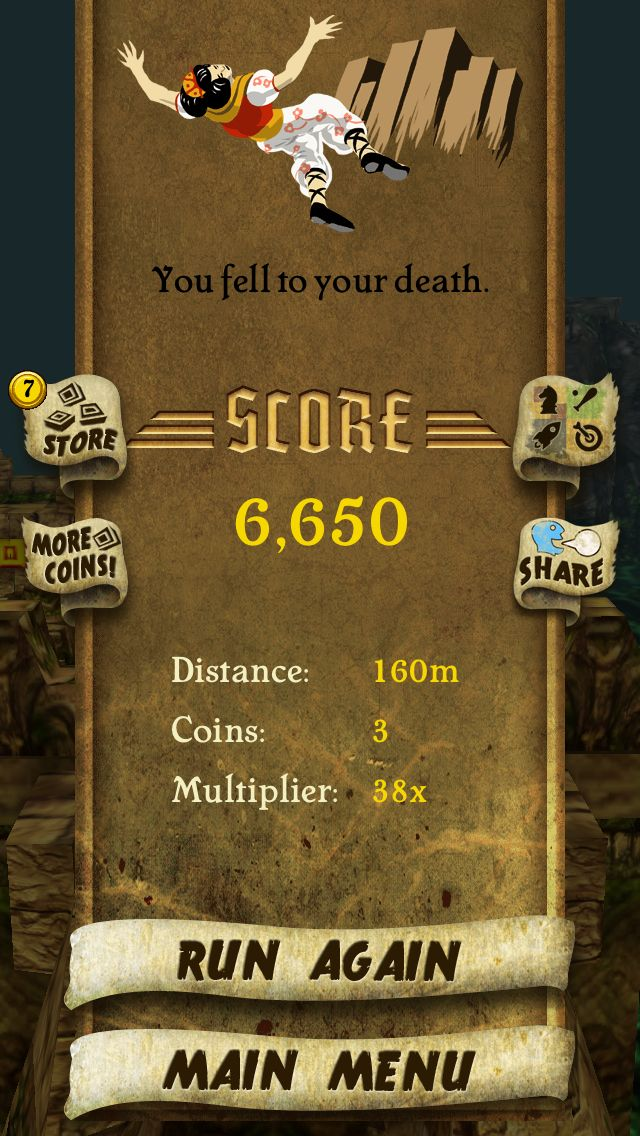 I got 6,650 points while escaping from demon monkeys. Beat that! http://bit.ly/TempleRunGame #TempleRun