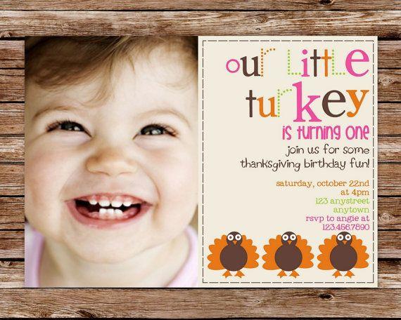 Custom Printable Little Turkey Thanksgiving Birthday Party Invitation with photo