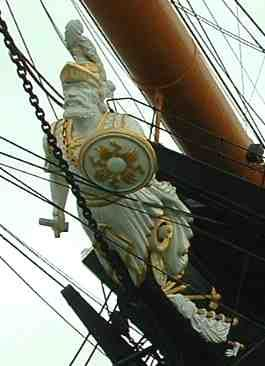 Figure head of HMS Warrior. HMS Warrior was the first armour-plated, iron-hulled warship, built for the Royal Navy in response to the first ironclad warship, the French Gloire, launched a year earlier. Construction started: May 25, 1859 Launched: December 29, 1860