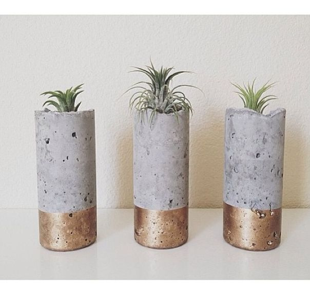 gold-dipped concrete planters