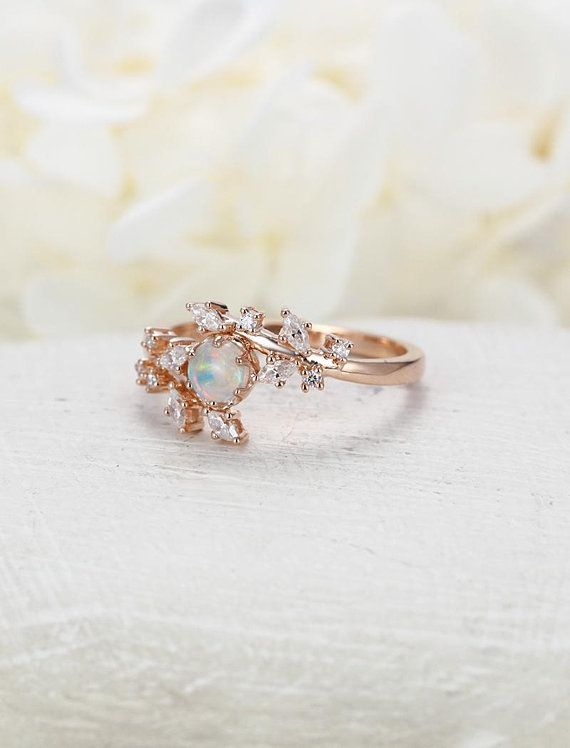 Opal Engagement Ring Rose Gold Engagement Ring Diamond Cluster