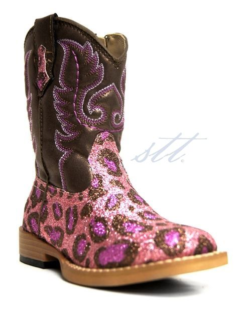 New to STT -- Roper® has designed these glittery pink leopard print girl's boots, and aren't they too cute!  | SouthTexasTack.com