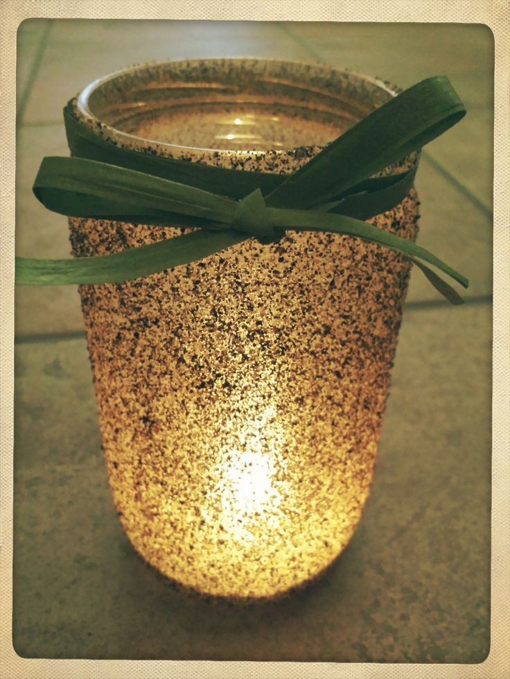 Upcycled sand jars - Riciclo creativo: vasetti di sabbia con fiocco di rafia