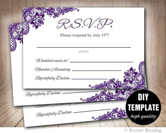 Aubergine Wedding RSVP Template DIYInstant Download by paperfull