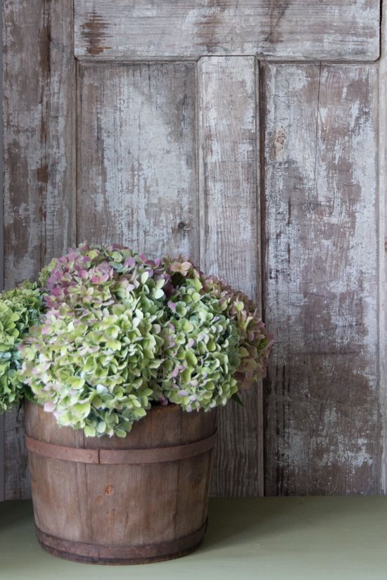 Sap Bucket Flower Arrangement for Fall with Hydrangeas by Finding Home Farms: