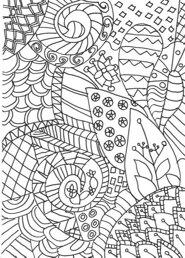 Zentangle Colouring Page Detailed Grown Up For Adults Or Older Children Inspired