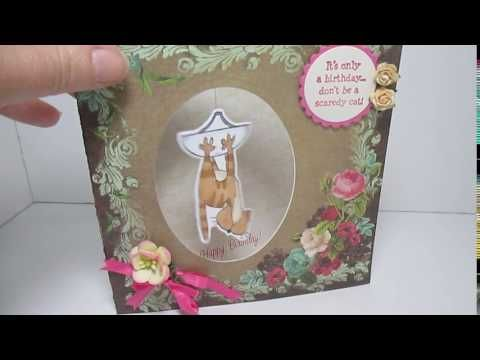 VIDEO...Art Impressions Rubber Stamps: 4575 – Scaredy Spinner and the 4617 – Scaredy Spinner Dies....handmade interactive card with cat.