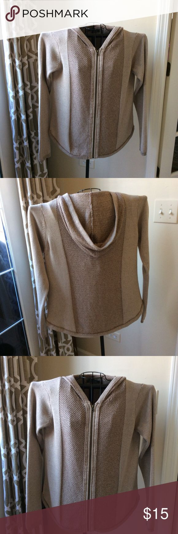 Hooded Zip Up Sweater Tan and beige zip up sweater with hood by Natural Reflections. Sz M gently used Natural Reflections Sweaters Cardigans