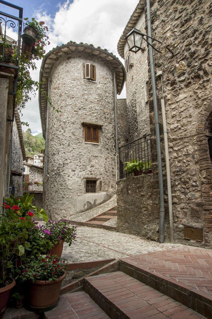 Scheggino è un castello di pendio a forma triangolare, coronato al vertice dal cassero dell'antica rocca. Il paese sorge sulla riva sinistra del fiume Nera in corrispondenza di un restringimento della valle fluviale, conferendo al castello di Scheggino la funzione di guardia di un passaggio obbligato dell'antica strada della Valnerina. L'area più a monte, è la parte più antica protetta dalle mura medievali.