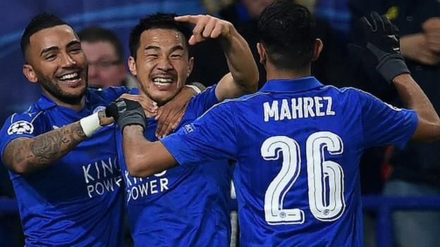 Leicester reach the Champions League knockout stages at the first attempt with a game to spare by beating Club Brugge 2-1.