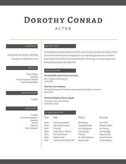 White Gray Minimalist Acting Resume Work Pinterest Simple