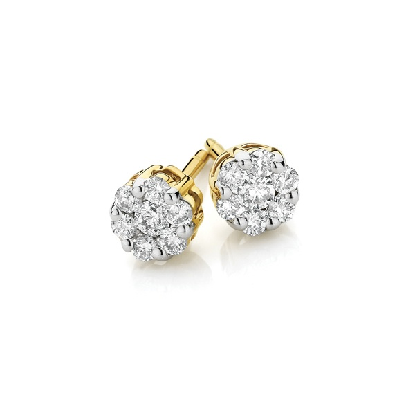 9ct Yellow Gold Diamond Cluster Stud Earrings