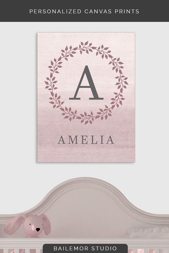 Baby Name Sign Canvas Monogrammed Shower Gift For Personalized Nursery Wall Decor Bedroom Art Wm 01