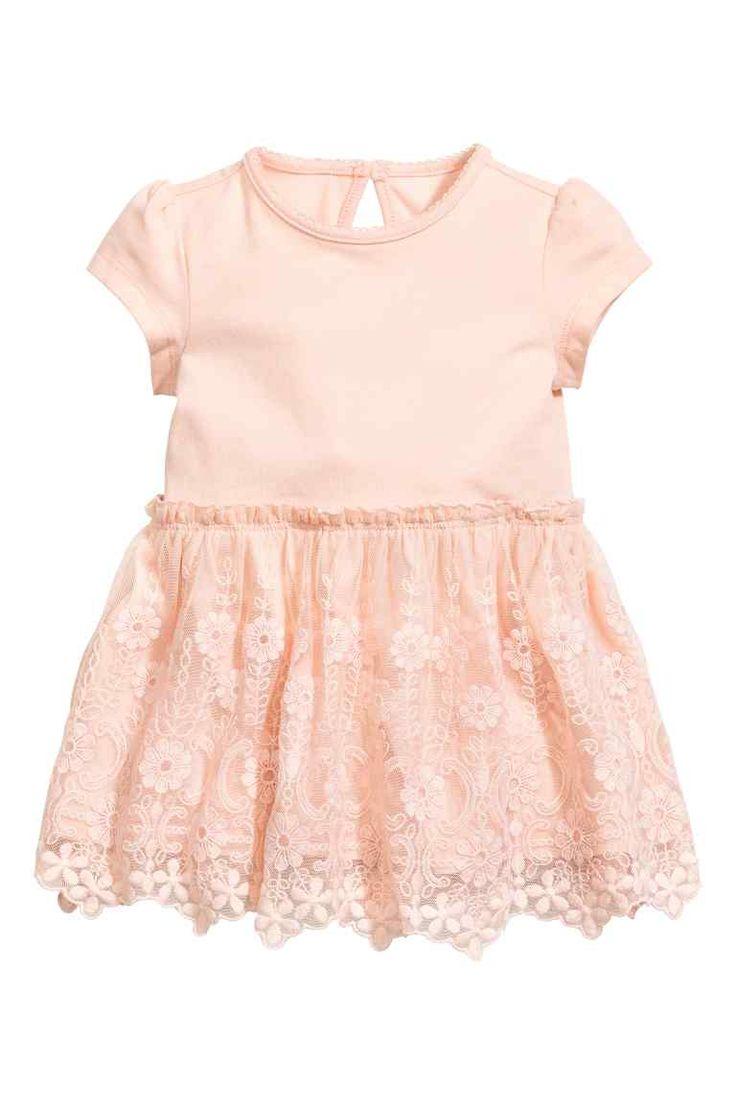 Dżersejowa sukienka z koronką - Pudroworóżowy - Dziecko   H&M PL