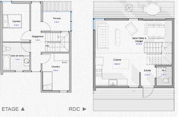 Modèles de maison container 82 m2 Nombre de containers : 4 Chambres : 2 Sdb : 1 Nb Wc : 1