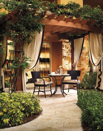 Pergola with curtains great spot for dinner or breakfast in the morning. - The 25+ Best Ideas About Pergola Curtains On Pinterest Deck With