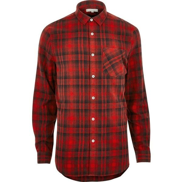 River Island Big and Tall red check casual shirt ($32) ❤ liked on Polyvore featuring men's fashion, men's clothing, men's shirts, men's casual shirts, red, shirts, big tall mens shirts, mens checkered shirts, mens red checkered shirt and mens long sleeve shirts