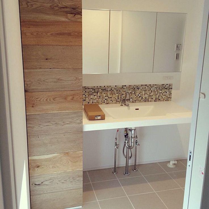 洗面所 収納/タイルの床/モザイクタイル/transdesign/イエコト。…などのインテリア実例 - 2015-04-18 21:29:00 | RoomClip(ルームクリップ)