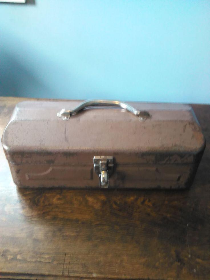Vintage tool box, Vintage tool chest, Vintage brown tackle box, Small brown…