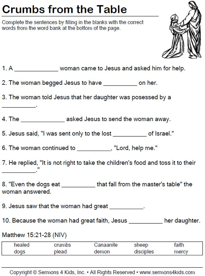 Worksheet Faith Worksheets 77 best printables images on pinterest sunday school crafts faith of the canaanite woman worksheet children fill in blanks as teacher tells