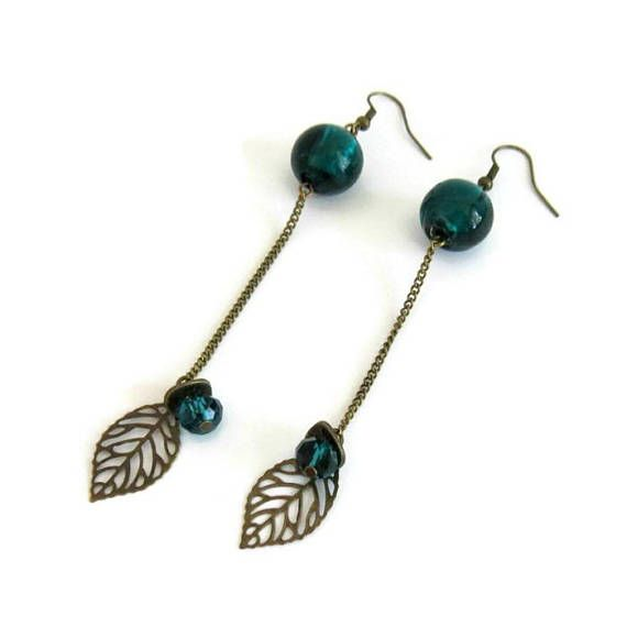 Boucles d'oreilles bohèmes bleues canard et bronze