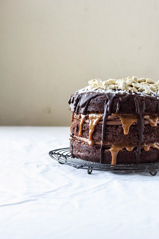 Chocolate and Coconut Cake with Dulce De Leche and Cashews | dulce de leche just in time for cinco de mayo