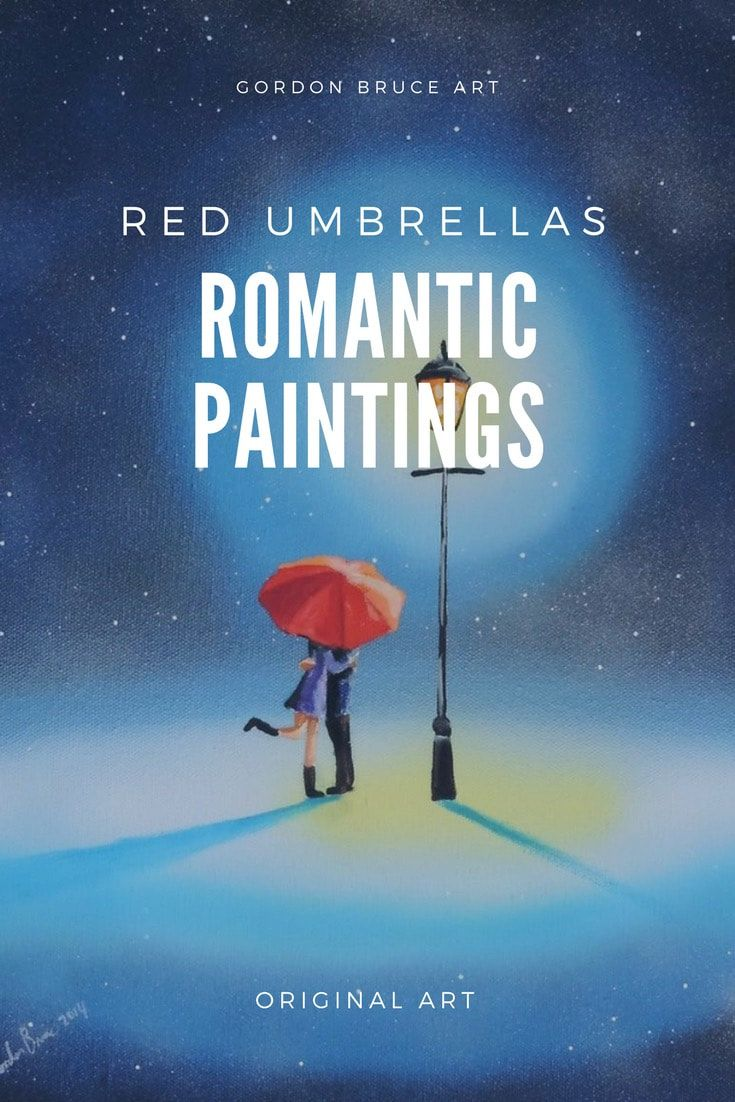 Romantic pantings of couples in the rain #red #umbrella #romantic #paintings