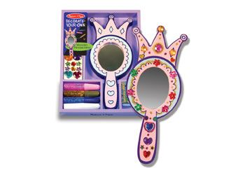 Melissa & Doug DIY Princess Mirror Your reflection will be regal in this glamourous wooden mirror set, once it's been decorated! This kit includes a royal wooden mirror, glitter and craft glue, sparkling gems and stickers. A perfect activity for parties or rainy days. $17.95 and in stock. Follow the below link for more information http://www.shellstreasures.com.au/#!product/prd1/1215282191/melissa-%26-doug-diy-princess-mirror