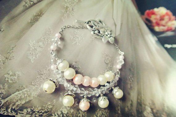 CUSTOM pink and white pearls and swarovski crystal bracelet, bridal bracelet bridal accessories