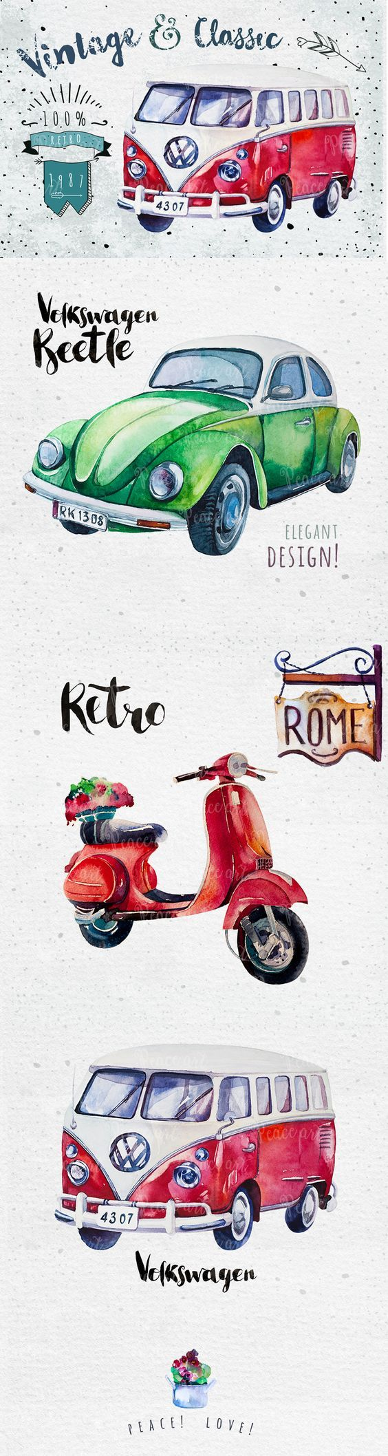 Watercolor Vehicles Volkswagon, Scooter #cars #vehicle #watercolor #volkswagon