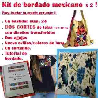 Kit Para Bordado Mexicano Pie De Cama 2 Plzs. C/dos Almohads - $ 1.350,00
