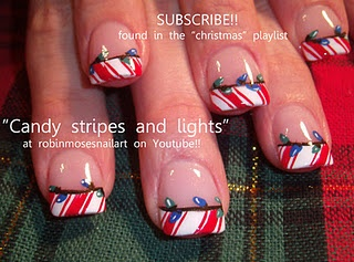 red candy cane tips with blue and green christmas lights