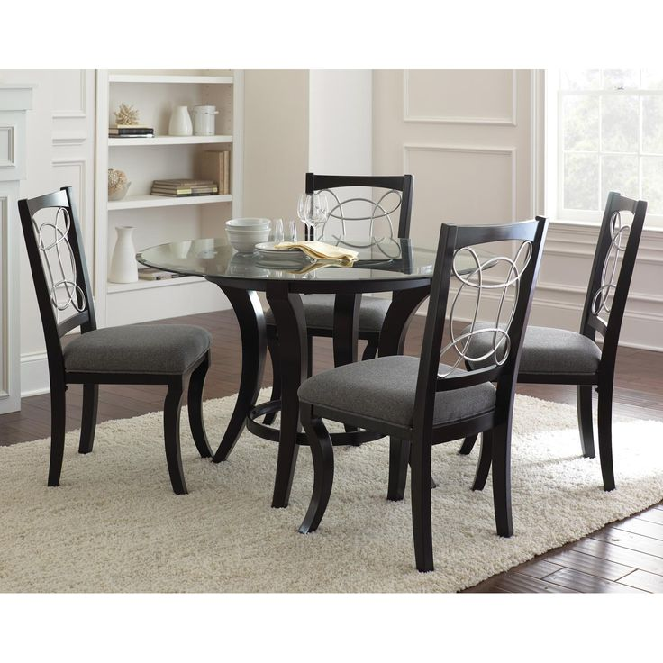 Cymax    Steve Silver Company Cayman Round Dining Table In Black With Glass  Top