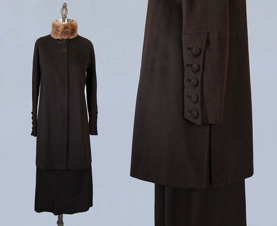 Rare 1920s Suit / Skirt and Coat / Winter Suit / Fur Collar / Early 1920s from Guermantes Vintage