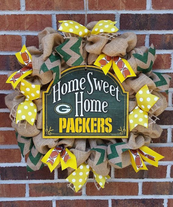Burlap Home Sweet Home Green Bay Packers by southcharmwreaths