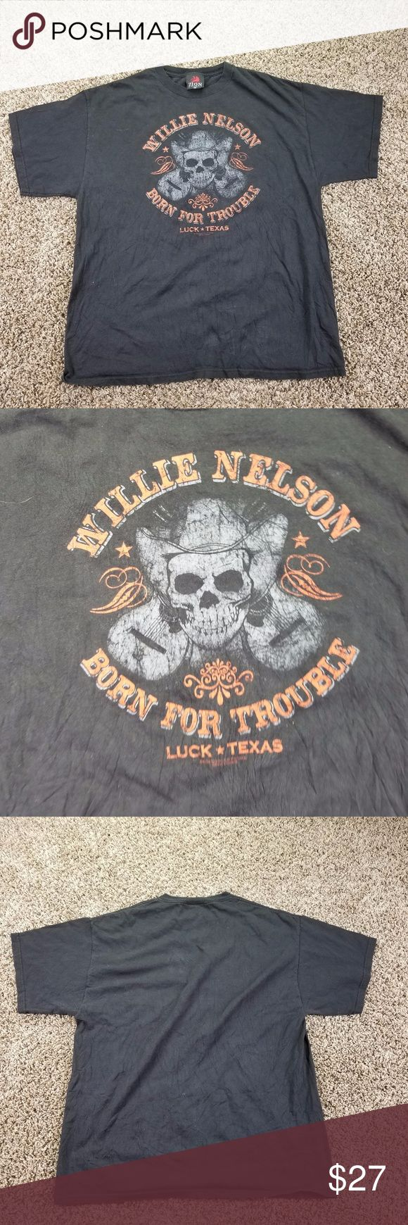 Willie Nelson Born For Trouble Vintage T-shirt Bla Willie Nelson Born For Trouble Vintage T-shirt Black Mens 1X Top Short Sleeve green16/13/10 chest 24 length 30 Born Shirts Tees - Short Sleeve