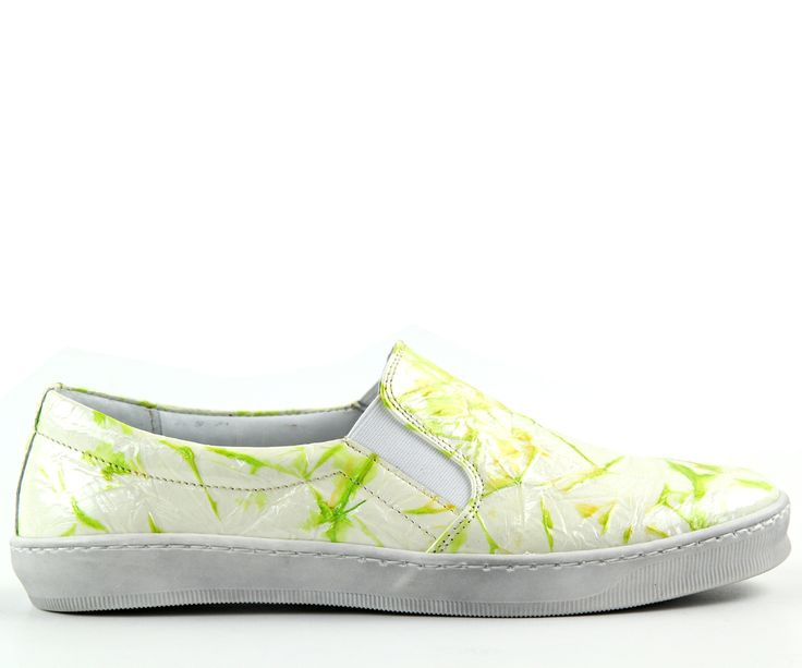 Spring shoes, perfect for spring! In light yellow colour decorated with green design