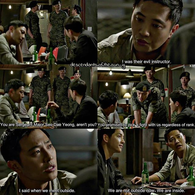 Sergeant Major Seo Dae Young making excuses to save his life #‎Descendants Of The Sun‬ #korean #drama